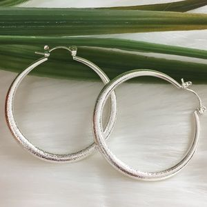 925 White Gold Filled Round Hoop Earrings Designed